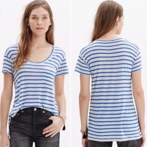 Madewell Stripe Scoop Neck Tshirt sz M